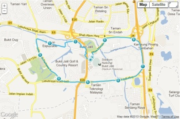 The Brooks 10K route, as mapped on Endomondo as I ran it. Click for larger image.