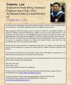 One of the 'Climb For Life' beneficiaries, Dominic Lee, a recent alumnus of the University (click for larger image)