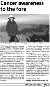 Article in the New Straits Times on March 28, 2013 on Kang Nee's upcoming climb