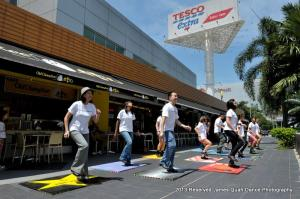 The 2pm mob outside Tesco's - time to sweat!