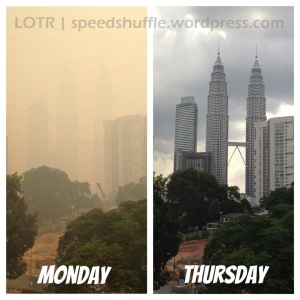 The skyline we all take for granted -- KL on Monday June 24 (no Instagram filters employed!), and the much improved scenery on Thursday June 27.