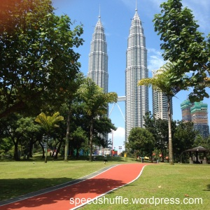 The Petronas Twin Towers, as seen from one of the further ends of the jogging track