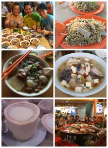 L-R, top to bottom: Bakuteh, Tuaran mee, beef noodles, rice noodles with fish slices, coconut pudding, and seafood