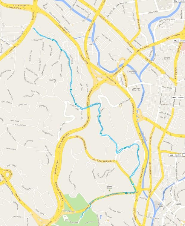 The Lake Gardens-Bukit Tunku-Lake Gardens 10K route (click for larger, detailed map)