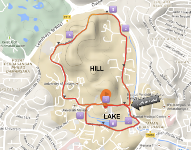 7K route - One loop of Bukit Chenta (4.7km) and one loop around the lake and main university grounds (3km). The numbered markers #1 to #8 correspond to the descriptions and photos in this post.