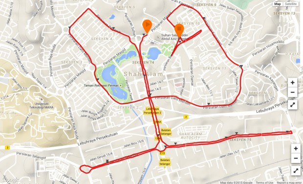 The 21K route map, as mapped on Suunto/Movescount (click for larger image).