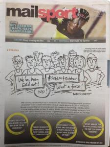 My drawing, on the back cover of the Malay Mail.