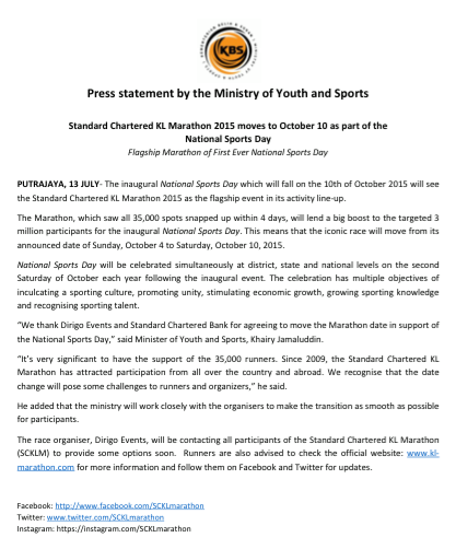 Press Statement by the Ministry of Youth and Sports (Source: SCKLM Facebook page)