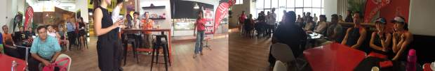 Pano shot of the crowd as Karen spills the beans on the goodies!