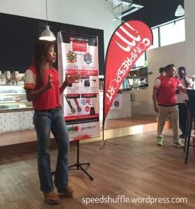 Karen Geh of MyTriathlonShop speaking on the Challenge