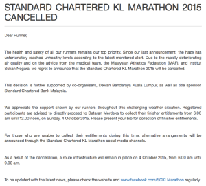 The announcement on the cancellation (Screen capture from the SCKLM website, www.kl-marathon.com)  Click for larger image.