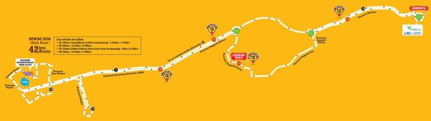The MWM 2016 Full Marathon Route (Source: MWM website as at 20 Jan 2016. Please check MWM's website and Facebook pages in case of updates to the route.)